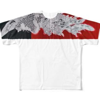 水墨絵師 松木墨善の鳳凰図 Full graphic T-shirts