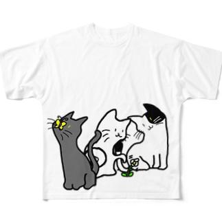ネコさんデザイン Full graphic T-shirts