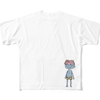 不安な青鬼くん Full graphic T-shirts