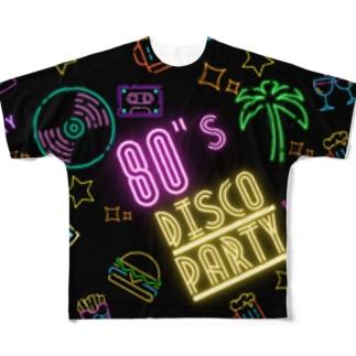80年代 ディスコ パーティー モノグラム柄 Full graphic T-shirts