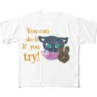 黒猫デックスやればできる! Full graphic T-shirts