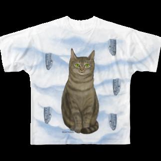 Washiemon and Ai-chan's Shopのキジトラとイワシ Full graphic T-shirts