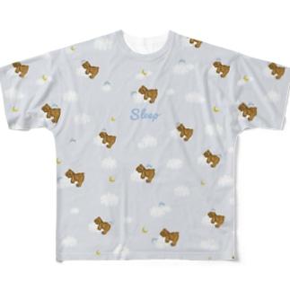 sleep おやすみ テディベア ブルー Full graphic T-shirts