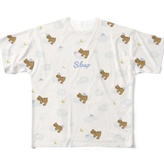 sleep おやすみ テディベア ベージュ Full graphic T-shirts