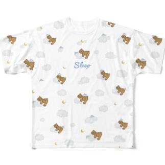 sleep おやすみ テディベア ホワイト Full graphic T-shirts