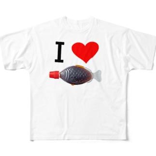 i love サカナ醤油(実写版) ー両面プリント Full graphic T-shirts