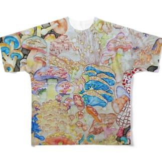 相変わらずのきのこ Full graphic T-shirts
