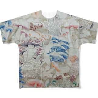 きのこ線描き Full graphic T-shirts