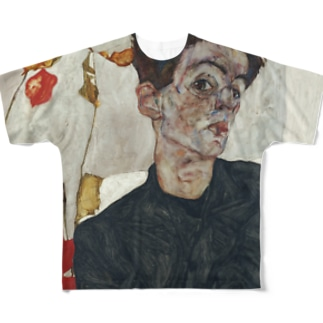 エゴン シーレ(Egon Schiele) / 自画像(Self-Portrait with Physalis) 1912 Full graphic T-shirts