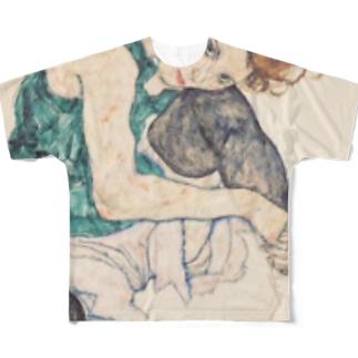 エゴン シーレ(Egon Schiele) / Seated woman with bent knee 1917 Full graphic T-shirts