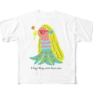 アマビエちゃん Full graphic T-shirts