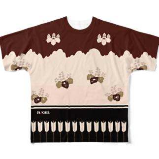胴服 染分練貫地桐矢襖文様辻が花柄 フルグラフィックTシャツ Full graphic T-shirts