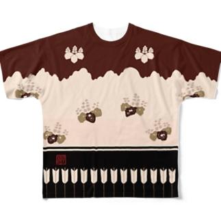 胴服 染分練貫地桐矢襖文様辻が花柄 フルグラフィックTシャツ 角印ロゴ Full graphic T-shirts