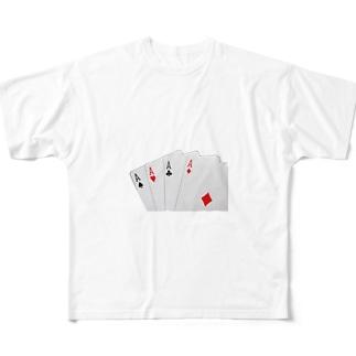 エースの4カード トランプ Full graphic T-shirts