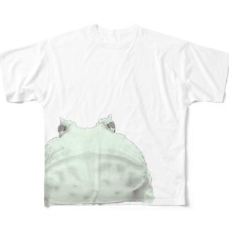 まえもうしろもでっかいツノガエル Full graphic T-shirts