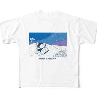 MINI BANANA ゴリラの親子のMINI BANANA 夜空ゴリラ Full graphic T-shirts