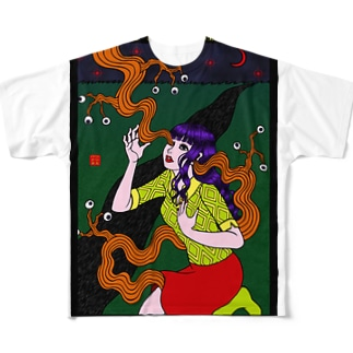 目玉も生える 三日月の夜 Full graphic T-shirts