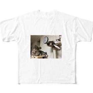 まったりキャットタワー Full graphic T-shirts