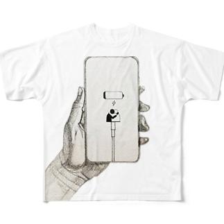 充電切れ・Human Connection  Full graphic T-shirts