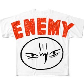 カメントツエネミーWhite Full graphic T-shirts