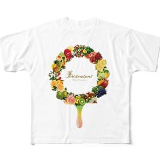 フルーツの輪(雫あり) Full graphic T-shirts