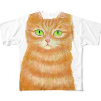 オレンジ猫 Full graphic T-shirts