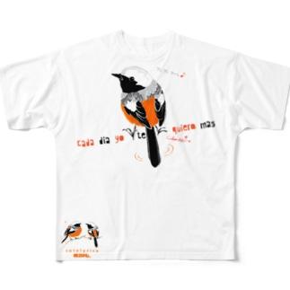 MARU ジョビとジョバ まるい小鳥 ジョウビタキ ヒタキ イラスト Full graphic T-shirts
