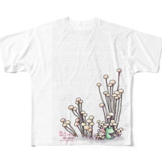 きのこと小人と時々カエル(えのき茸) Full graphic T-shirts