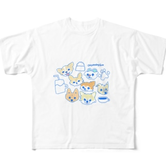 「保護犬カフェ支援」グッズ 犬 大集合 カフェバージョン Full graphic T-shirts