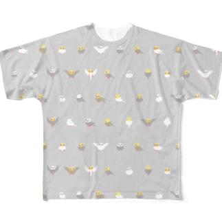 ちみまめオカメインコちゃん【まめるりはことり】 Full graphic T-shirts