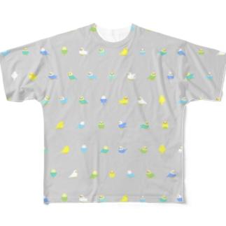 ちみまめセキセイインコちゃん【まめるりはことり】 Full graphic T-shirts