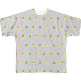ちみまめコザクラインコちゃん【まめるりはことり】 Full graphic T-shirts