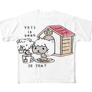 CT112 YETI is yeahの家でお茶 Full graphic T-shirts