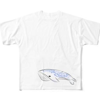 シンプルクジラ Full graphic T-shirts