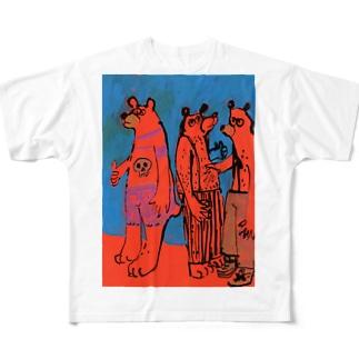3人のクマと青 Full graphic T-shirts