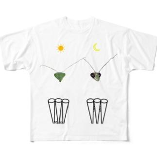 カマキリの昼と夜の複眼(絵文字、背景透過ver) All-Over Print T-Shirt