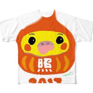 福だるま型 オカメインコ ノーマル Full graphic T-shirts