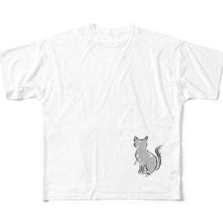 シンプルキャット Full graphic T-shirts