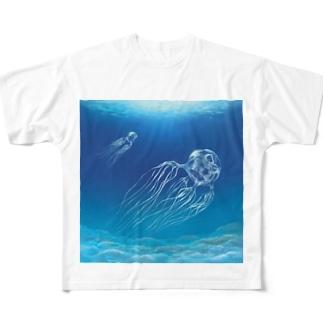 海を漂う猛毒ハブクラゲさん Full graphic T-shirts