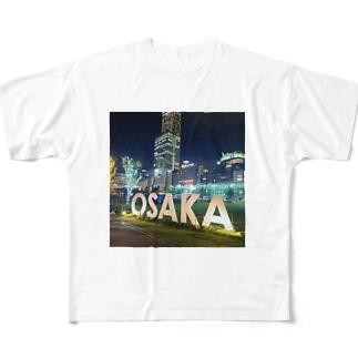 大阪の街 Full graphic T-shirts