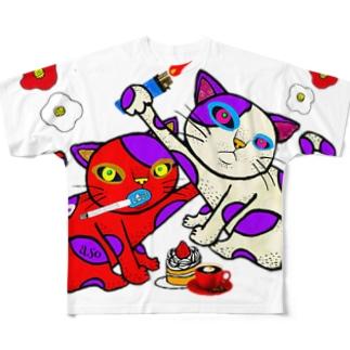 スモーキン猫 Full graphic T-shirts