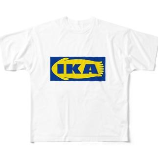 IKA イカ いか  ロゴ  Full graphic T-shirts