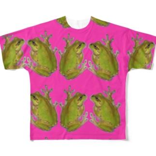 リアルカエルだらけ。 Full graphic T-shirts