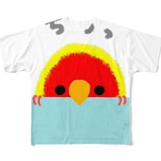 コザクラインコ きょうのピピさん ちらっばーじょん Full graphic T-shirts