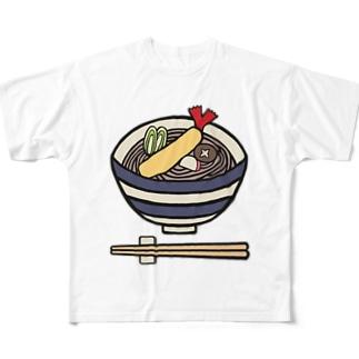 小さな蕎麦屋さんで提供される天ぷらそば Full graphic T-shirts