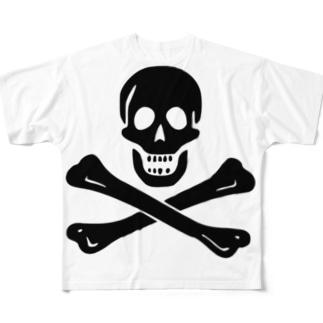 海賊旗スカル-Jolly Roger サミュエル・ベラミーの海賊旗-黒ロゴ Full graphic T-shirts