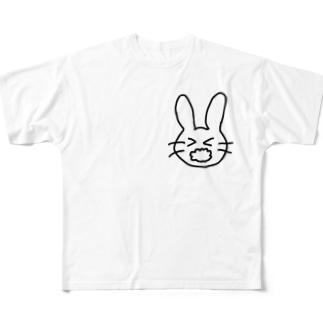あわあわうさぎ Full graphic T-shirts