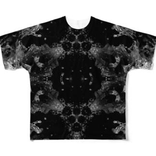波模様/白黒01 Full graphic T-shirts