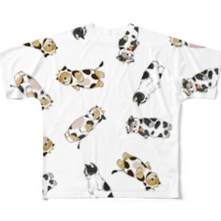 牛にゃん Full graphic T-shirts