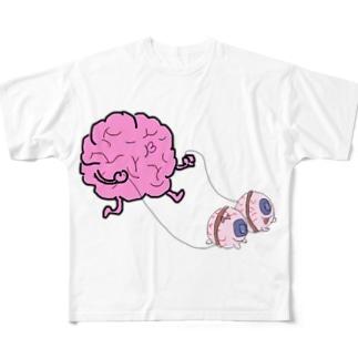 目玉ワン子と脳みそ人 Full graphic T-shirts